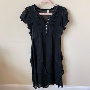 Anthropologie Tiered chiffon henley dress #618